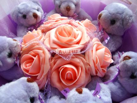 Bouquet Bears and orange roses