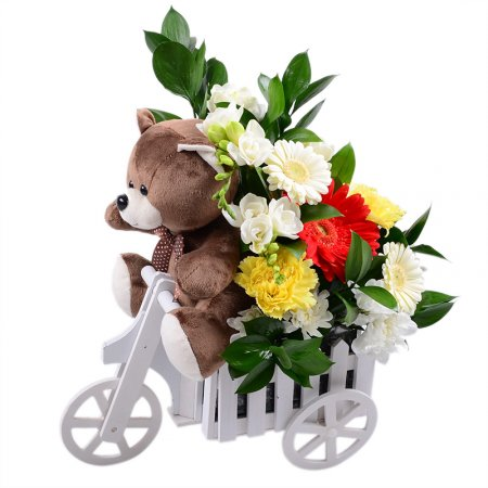 Bouquet Teddy with flowers