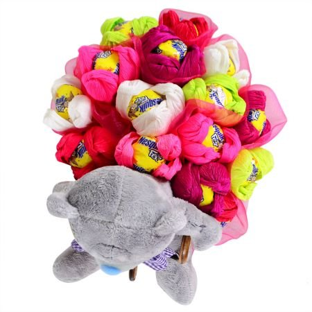 Candy bouquet and teddy bear - order now!