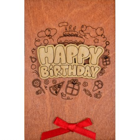 Product Wooden card Happy Birthday