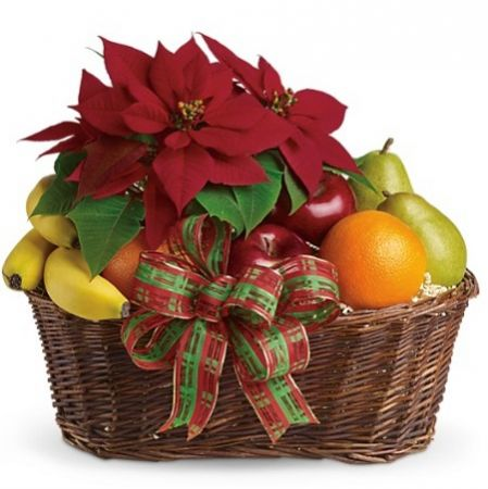 Product Fruit and Poinsettia Basket
