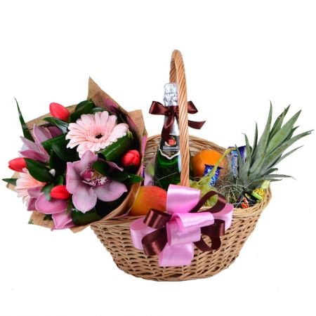 Buy a gift basket and a bouquet of season flowers with delivery